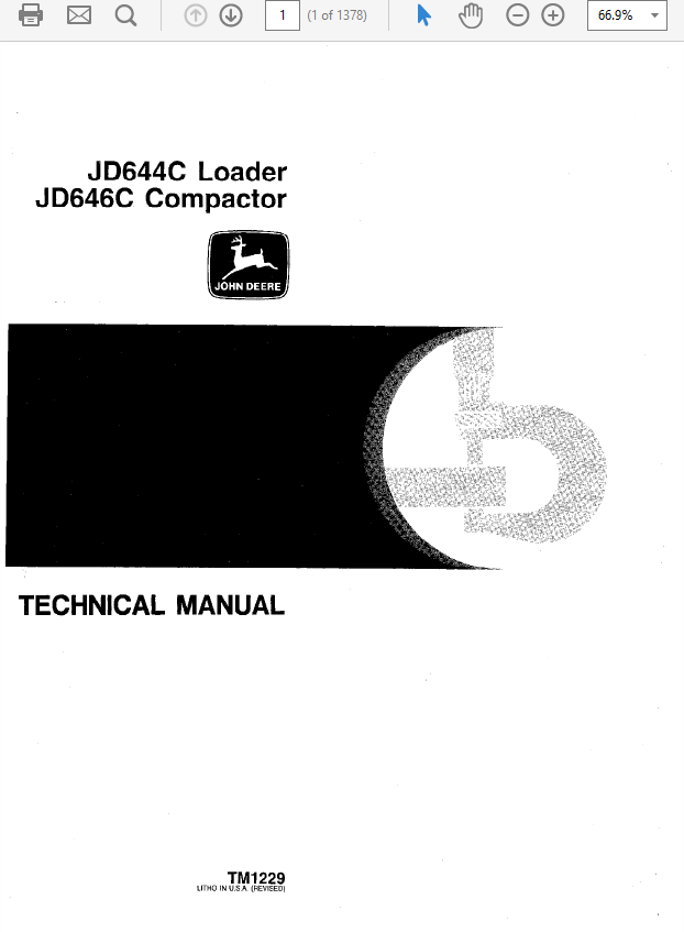 John Deere 644C, 646C Compactor Technical Manual TM-1229