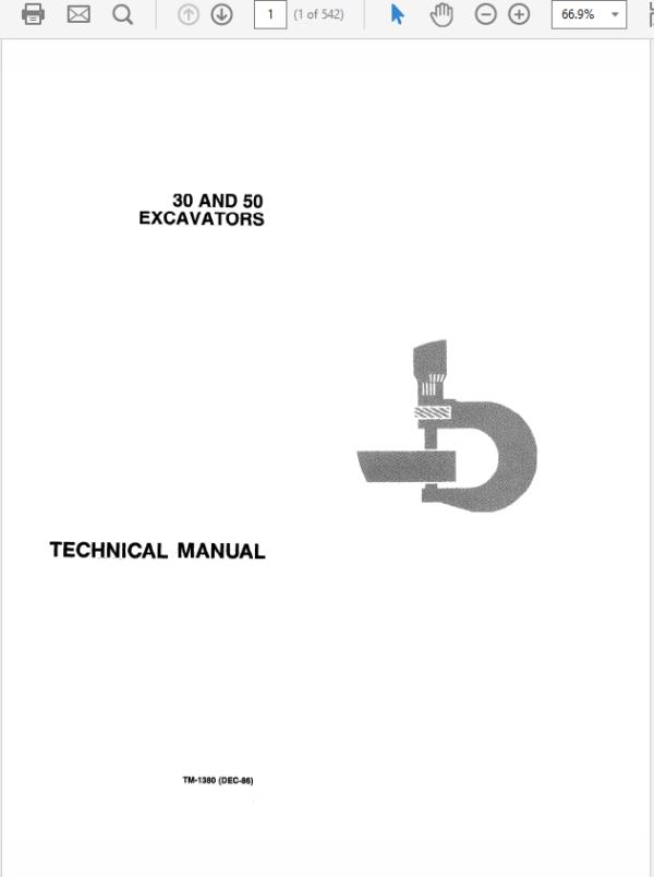 John Deere 30, 50 Excavator Technical Manual TM-1380