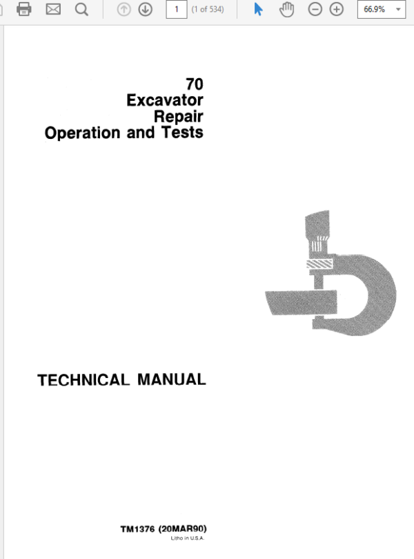 John Deere 70 Excavator Service Manual