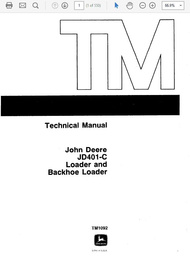 John Deere 401C Backhoe Loader Technical Manual TM-1092