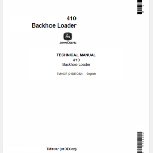 John Deere 410 Backhoe Loader Service Manual TM-1037