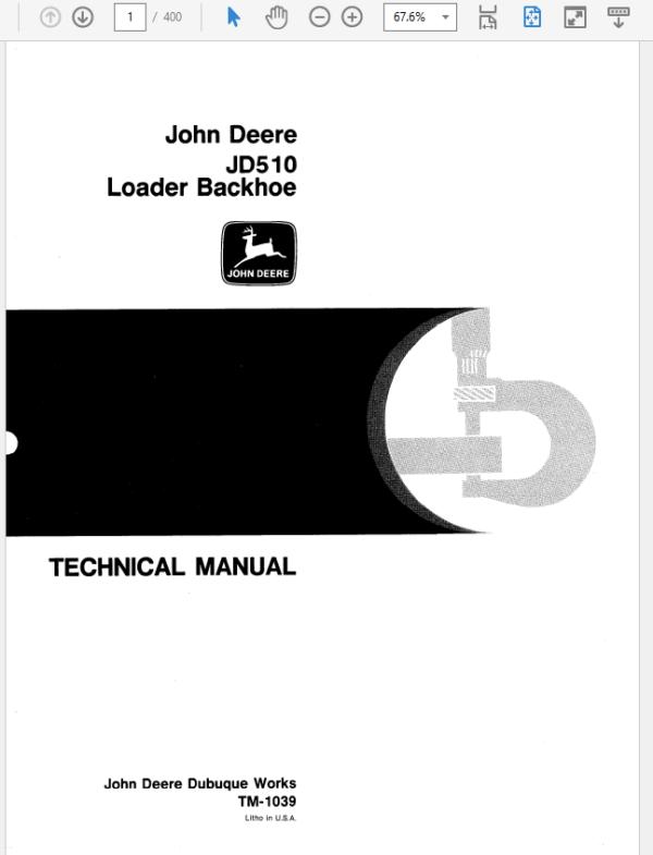 John Deere 510 Backhoe Loader Technical Manual TM-1039