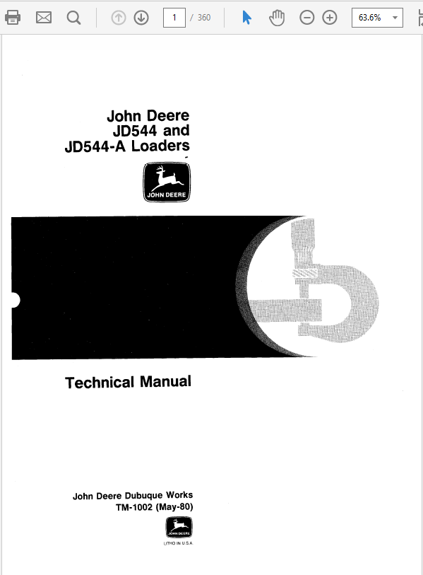John Deere 544, 544A Loader Service Manual TM-1002