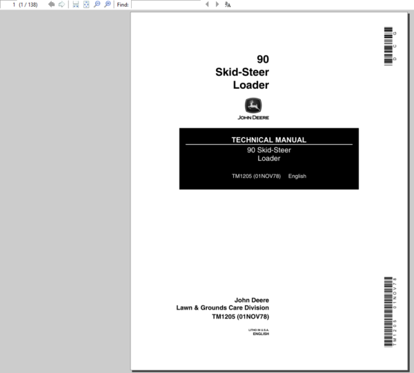 John Deere 90 Skid-Steer Loader Service Manual TM-1205
