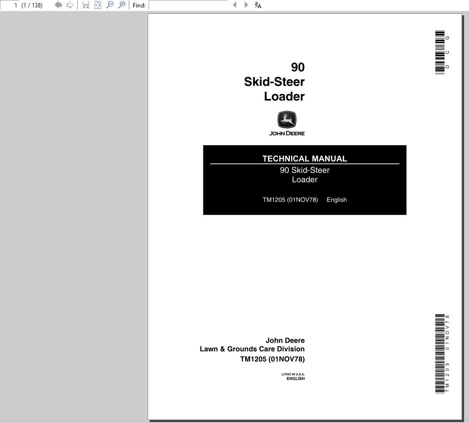 John Deere 90 Skid-Steer Loader Technical Manual TM-1205