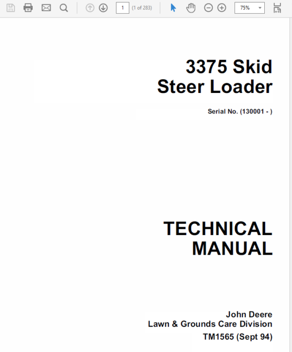 John Deere 3375 Skid-Steer Loader Technical Manual TM-1565