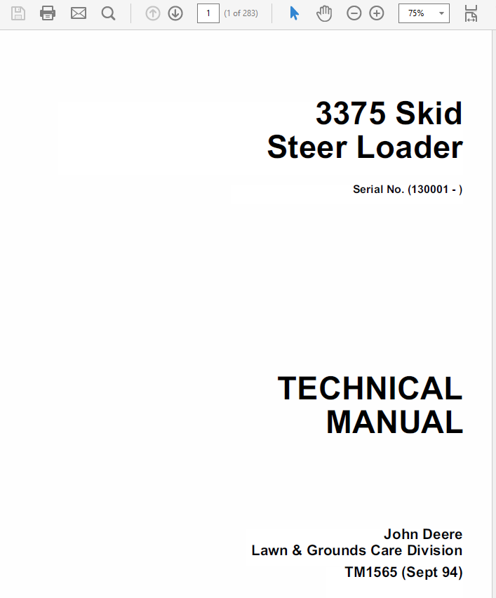 John Deere 3375 Skid-Steer Loader Technical Manual TM-1565