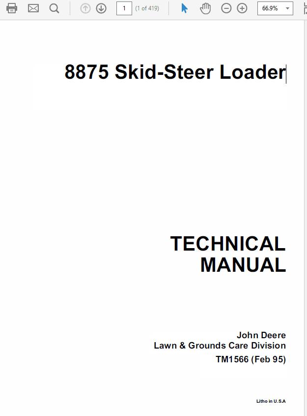 John Deere 8875 Skid-Steer Loader Technical Manual TM-1566