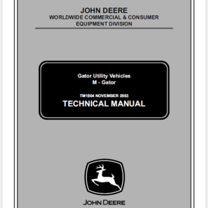 John Deere M-Gator Technical Manual TM-1804