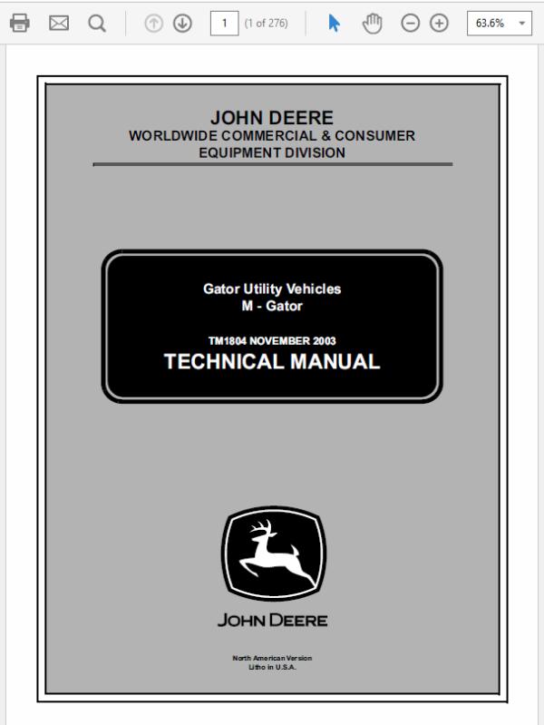 John Deere M-Gator Service Manual TM-1804
