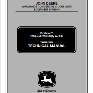 John Deere ProGator 2020, 2030 Utility Vehicle Service Manual TM-1759