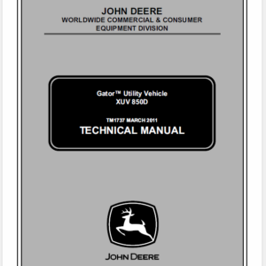 John Deere XUV 850D M-Gator Utility Vehicle Service Manual TM-1737