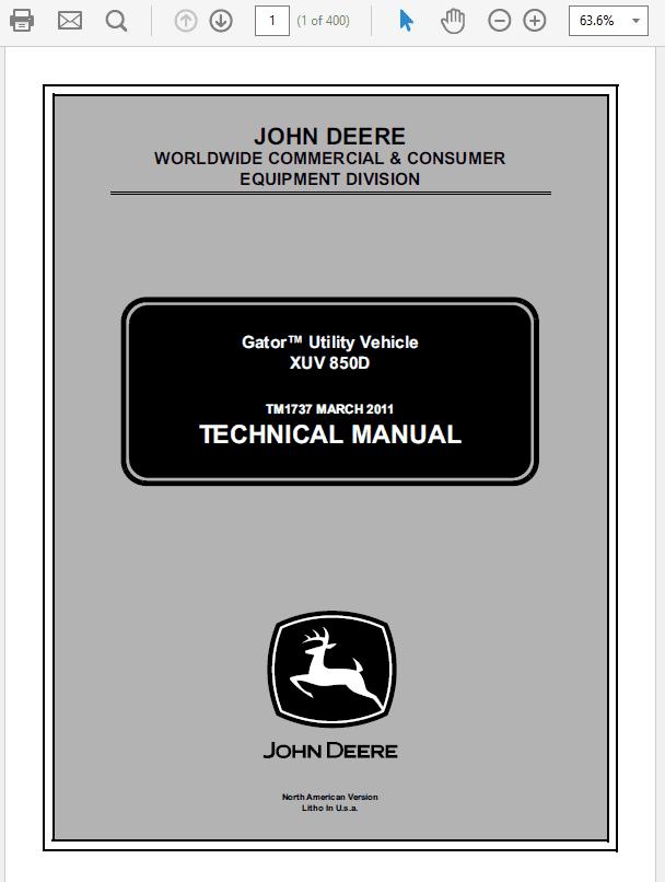 John Deere XUV 850D Gator Utility Vehicle Service Manual