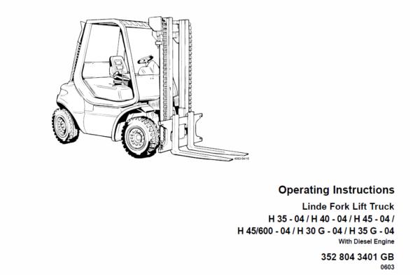 Linde Forklift Truck 352 Series H35, H40, H45 Repair Service Training Manual