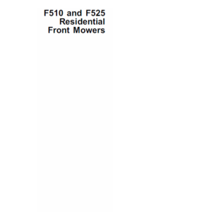 John Deere F510, F525 Front Mowers Service Manual TM-1475