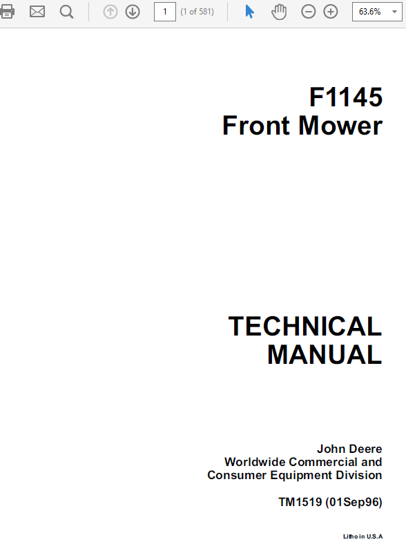 john deere f1145 front mower service manual tm1519