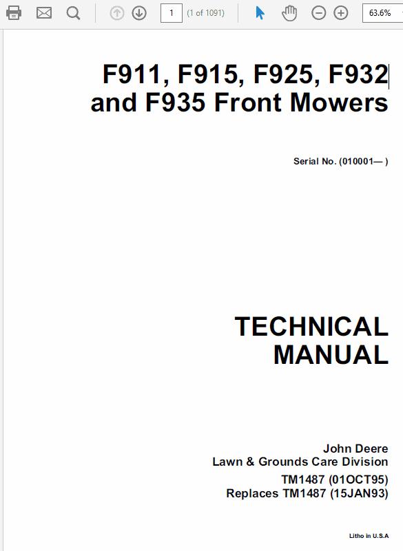 John Deere F911 F912 F915 F925 F932 F935 Front Mowers Tm1487. John Deere F911 F912 F915 F925 F932 F935 Front Mowers Tm1487 Tm1350. John Deere. F932 John Deere Lawn Mower Electrical Diagram At Scoala.co