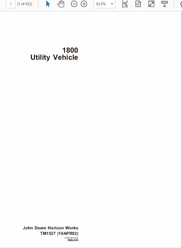 John Deere 1800 Utility Vehicle Service Manual TM-1527