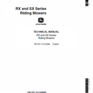 John Deere RX63, RX73, SX75, RX95, SX95 Mowers Technical Manual TM-1391