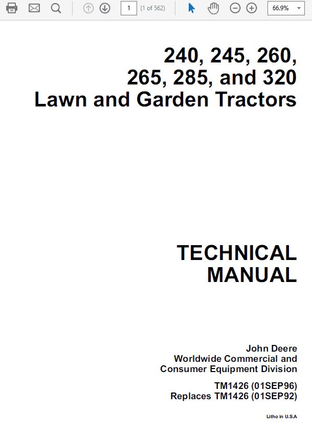 John Deere 240, 245, 260, 265, 285, 320 Lawn Garden Tractors Service Manual