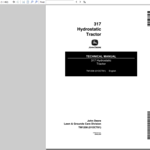 John Deere 317 Hydrostatic Tractor Service Manual TM-1208