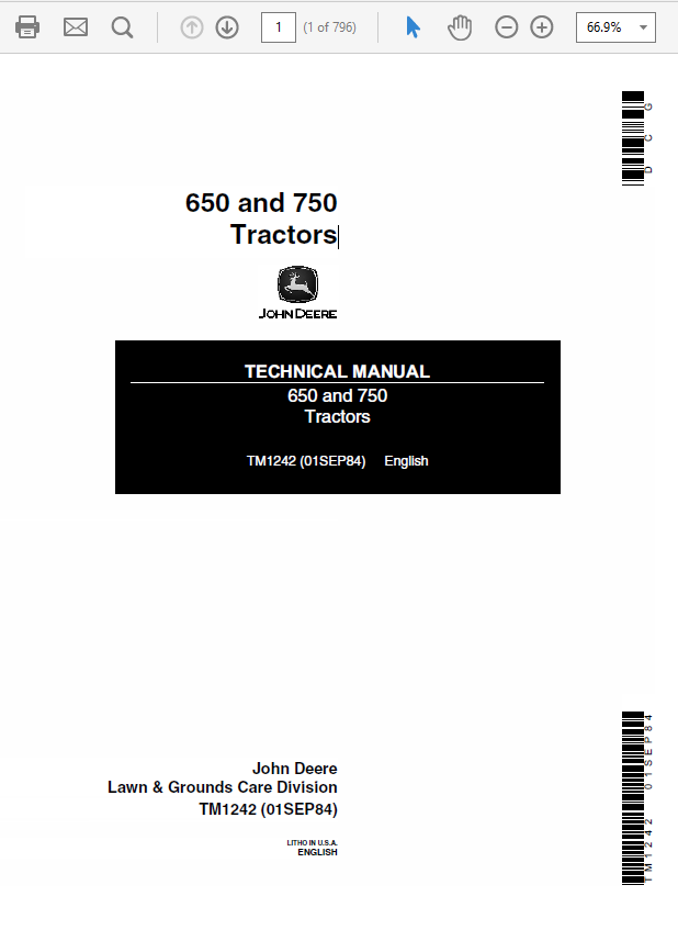 John Deere 650 and 750 Tractors Service Manual TM-1242