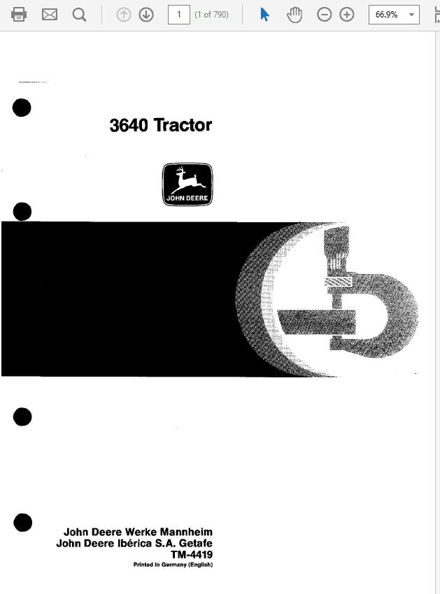John Deere 3640 Tractor Technical Manual TM-4419
