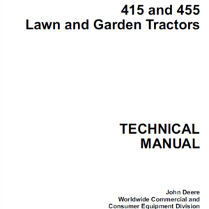 John Deere 415 and 455 Lawn and Garden Tractors Technical Manual TM-1836