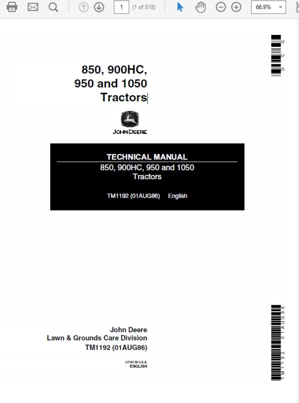 John Deere 850, 900HC, 950 and 1050 Tractors Technical Manual TM-1192
