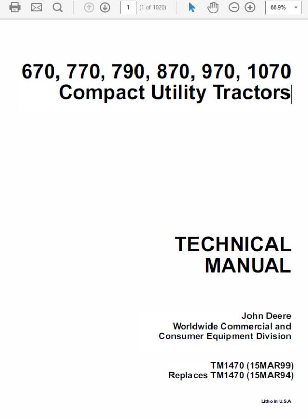John Deere 670, 770, 790, 870, 970, 1070 Compact Utility Tractor Technical Manual TM-1470