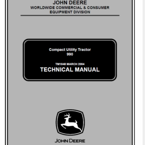 John Deere 990 Compact Utility Tractors Technical Manual TM-1848