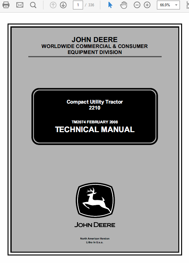 John Deere 2210 Compact Utility Tractors Technical Manual TM-2074