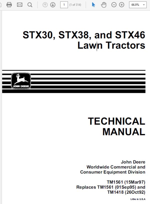 John Deere STX30, STX38, STX46 Lawn Tractors Technical Manual TM-1561