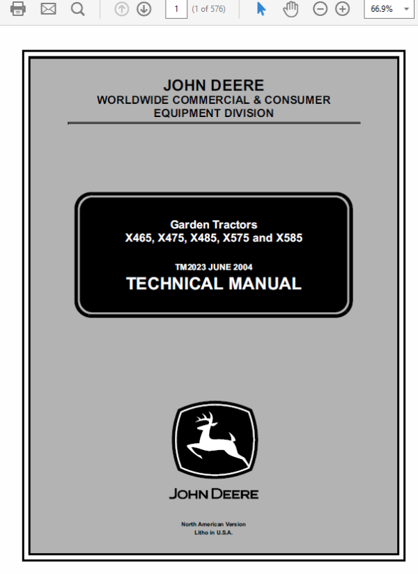 John Deere X465, X475, X485, X575 and X585 Garden Tractor Manual