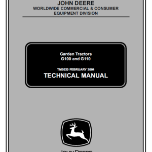 John Deere G100 and G110 Garden Tractors Service Manual TM-2020