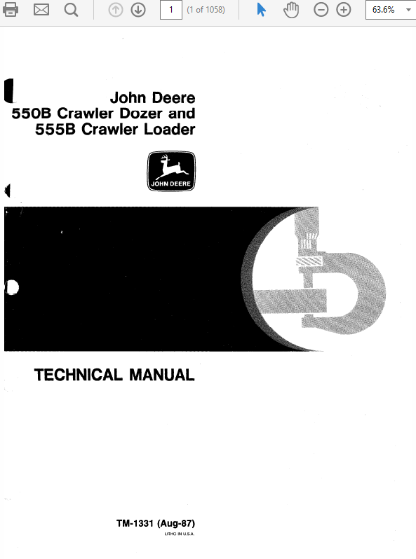 John Deere 550B, 555B Crawler Bulldozer Loader Service Manual
