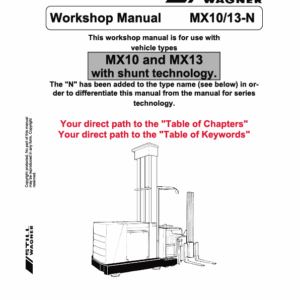 Still MX10 and MX13 Order Picker Workshop Repair Manual