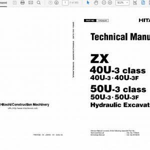 Hitachi Zx40u-3 And Zx50u-3 Excavator Service Manual
