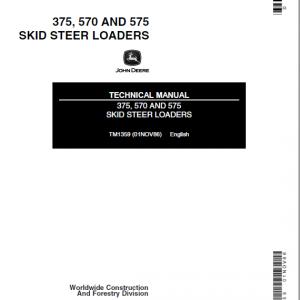 John Deere 570, 575, 375 Skid-Steer Loader Service Manual TM1359