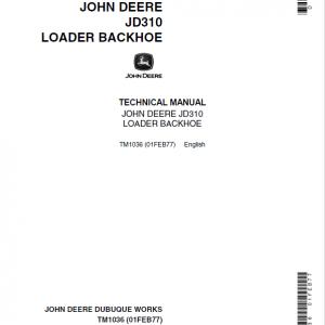 John Deere 310 Loader Backhoe Service Manual TM1036 & TM4290