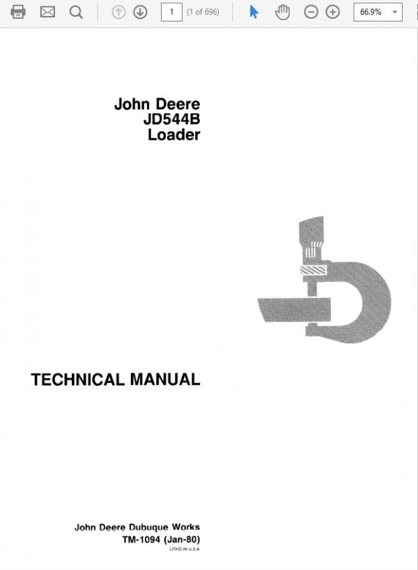 John Deere 544B Loader Repair Service Manual TM1094 & TM3202
