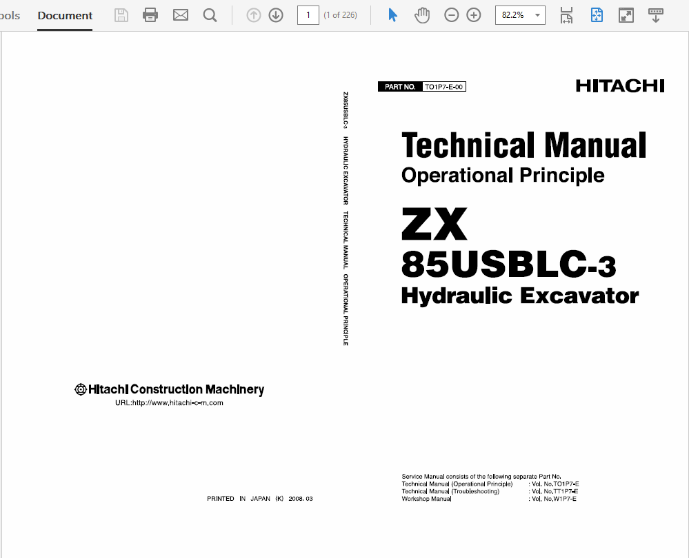 Hitachi Hydraulic Excavator Technical Workshop Manual Zx 85usblc 3 Bobcat 430 Wiring Diagram