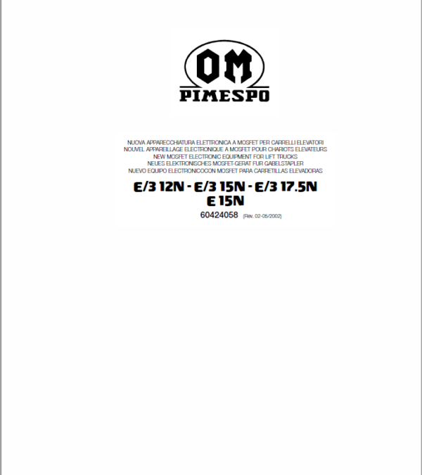 OM PIMESPO FIAT E3 12N -15N -17.5N- E15N Mosfet Electronic Schematic Manual