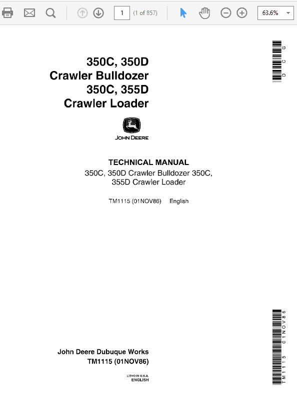 John Deere 350C, 350D, 355D Crawler Tractor Loaders Technical Manual