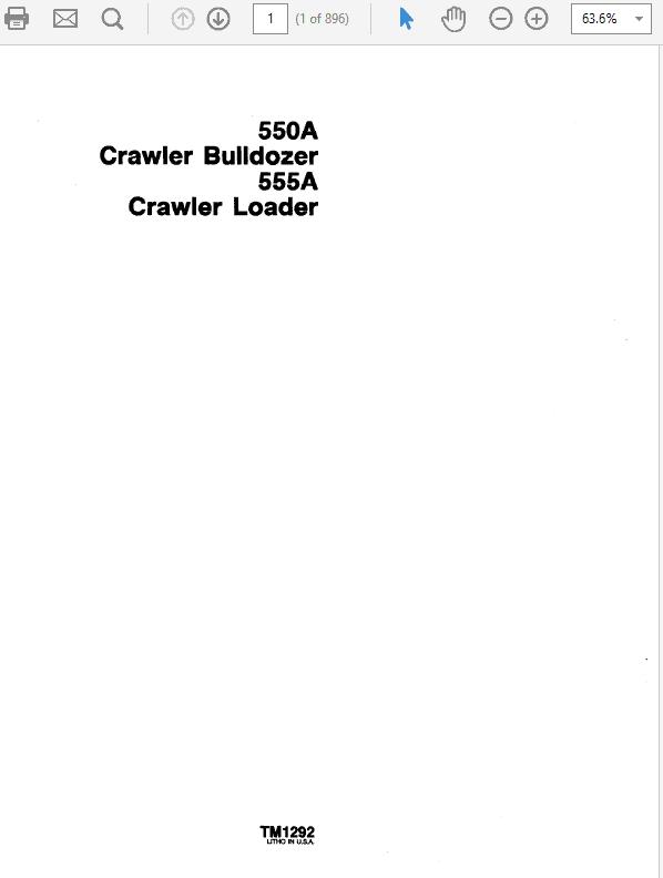 John Deere 550A, 555A Crawler Bulldozer Loader Technical Manual TM-1292
