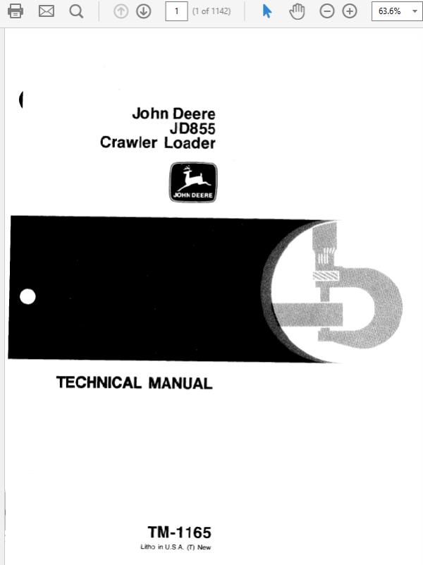 John Deere 855 Crawler Loader Technical Manual TM-1165