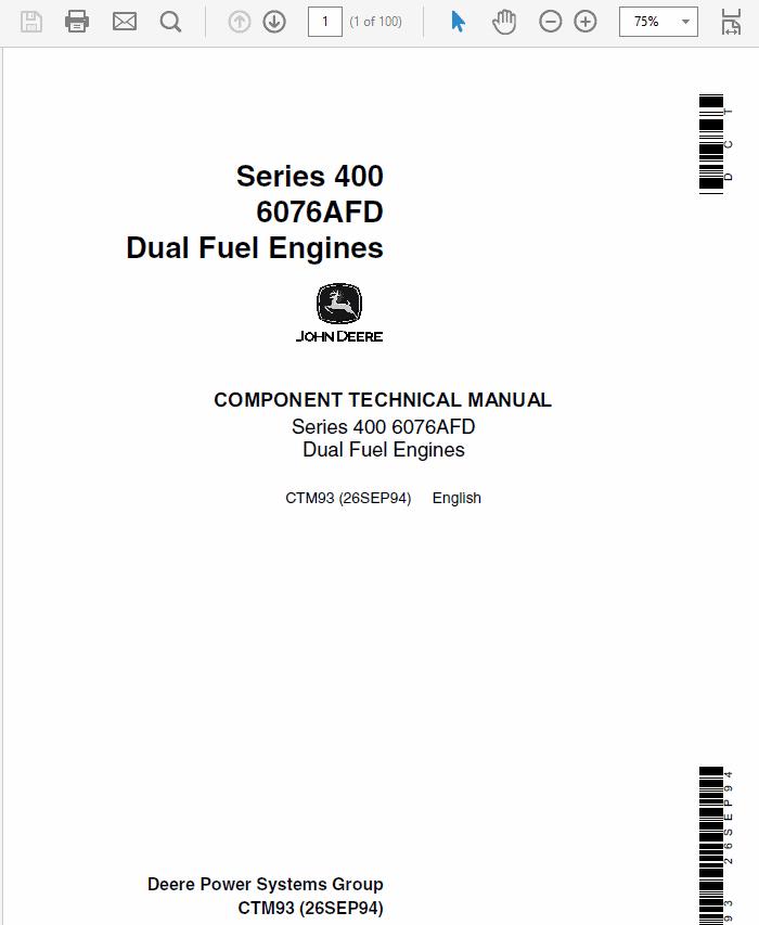 John Deere 400 Series 6076AFD Dual Fuel Engines Service Manual CTM93