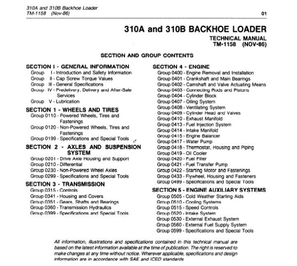 John Deere 310A, 310B Backhoe Loaders Service Manual TM-1158