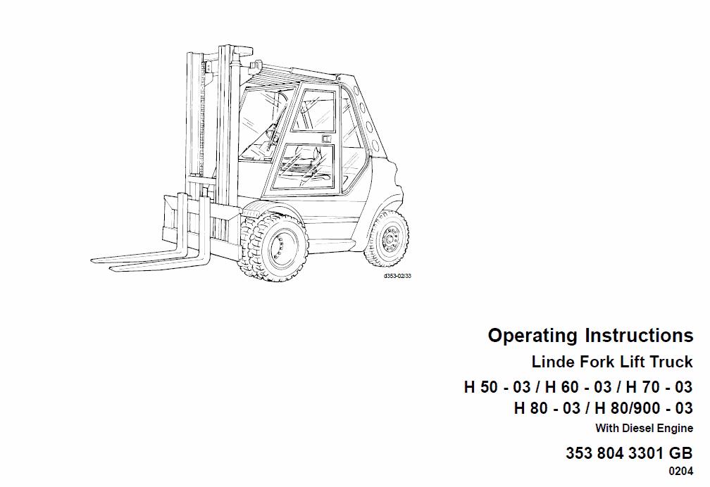 linde type 353 forklift truck  h50  h60  h70  h80 repair