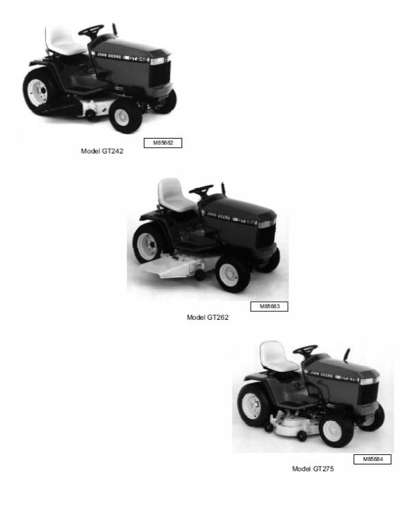 John Deere GT242, GT262, GT275 Lawn and Garden Tractors TM1582 | Gt242 Wiring Diagram |  | The Repair Manual